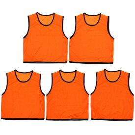 ビブス 大人用 無地 5枚セット メッシュバッグ入り ゲームベスト オレンジ 男女兼用