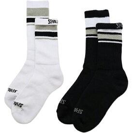 スポルディング SPALDING メンズ レディース バスケットボール クルーソックス LINE 2足セット ホワイト×ブラック SAS180010