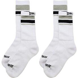スポルディング SPALDING メンズ レディース バスケットボール クルーソックス LINE 2足セット ホワイト×ホワイト SAS180010