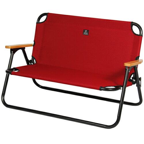 クイックキャンプ QUICKCAMP 二人掛け ローチェア レッド QC-ATC100 アウトドア用 軽量 折りたたみ アルミ背付きベンチ クッション入り ロースタイル 2人用 チェア 椅子