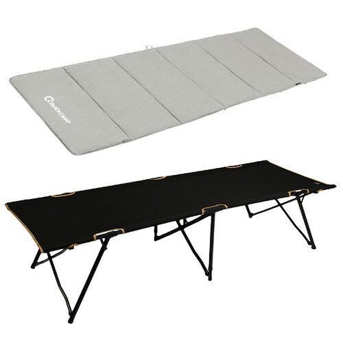 キャンピング ベッド 敷きパッド 2点セット ブラック 折りたたみ フォールディング アウトドア コット クイックキャンプ QC-SC190