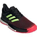 アディダス adidas メンズ テニスシューズ ソールコート ブースト マルチコート ブラック/イエロー/レッド AQO07 AH2131