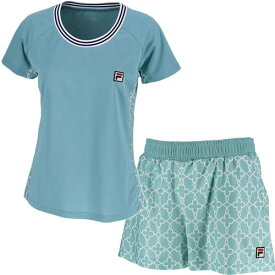 フィラ FILA レディース テニス ゲームシャツ & ショートパンツ 上下セット ミネラルブルー VL1949 12/VL1952 12