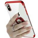 \iphone11 ケース/【強化ガラスフィルムセット】iPhoneリング付きクリアケース スタンドにもなる iPhone XS XS MAX …