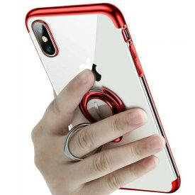\iphone11 ケース/【強化ガラスフィルムセット】iPhoneリング付きクリアケース スタンドにもなる iPhone XS XS MAX XR 7 8 7Plus 8Plus ケース TPUソフトクリアケース カバー 透明 回転リング スタイリッシュ iphone11 proケース
