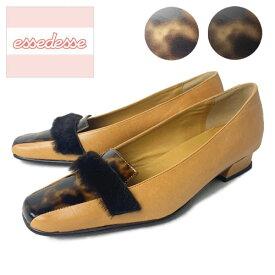 カオススクエアパンプス ムートン キャメル ブラウン キップ 馬革 天然ムートン 21.5cm 22cm 23cm 23.5cm 24cm 24.5cm 25cm 2E 日本製 婦人靴 スニーカー 革 ベラージオ 通気性