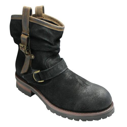 【ABBEY ROAD(アビーロード)】ドレープタイプの牛革エンジニアブーツAB6003(ブラック)/メンズ 靴