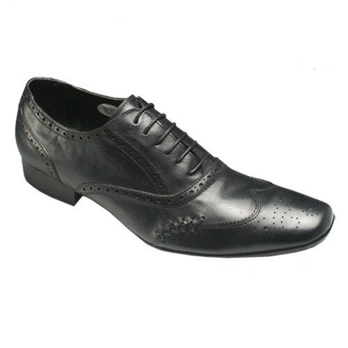 【ABBEY ROAD(アビーロード)】コンテンポラリーな牛革ウイングチップ(メダリオン)・AB7050(ブラック)/メンズ 靴