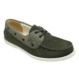【ALPHA(アルファ)】ミリタリーテイストの牛革スエードデッキシューズ・AF2942(カーキ)/メンズ 靴