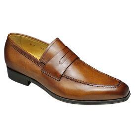 【CARLO MEDICI(カルロ メディチ)】イタリア製のロングノーズドレスシューズ・スリッポン(ローファー)CJ2949(ブラウン)/メンズ 靴