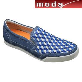 カステルバジャック カジュアルシューズ 幾何学模様 スリッポン CA12216 ブルー CASTELBAJAC メンズ 靴