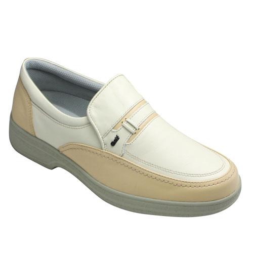 【GOLF(ゴルフ)】4Eの幅広・軽量・撥水加工!カジュアルスリッポン(Uチップ)・GF5002(アイボリーベージュ)/メンズ 靴