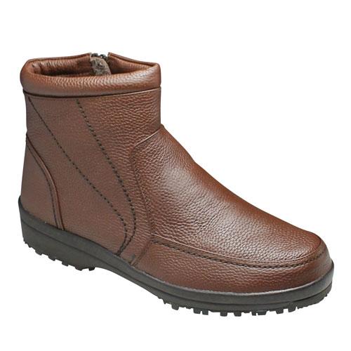 【City Golf(シティー ゴルフ】4Eの幅広・全天候型の履き心地の良い牛革ショートブーツ・SPGF567(ブラウン)/メンズ 靴