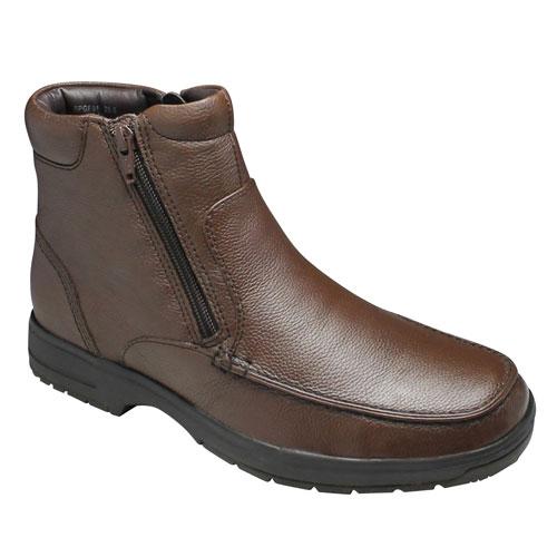 【City Golf(シティー ゴルフ】4Eの幅広・全天候型で履き心地の良い撥水加工の牛革ショートブーツ(サイドジップ)・SPGF911(ブラウン)/メンズ 靴