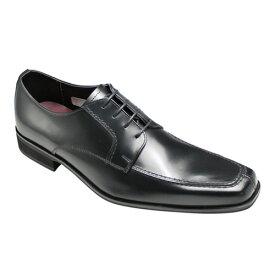 【hiromichi nakano(ヒロミチ ナカノ)】3E幅のロングノーズ・ガラス仕上げ!スクウェアトゥビジネスシューズ(Uチップ)・HN129H(ブラック)/メンズ 靴