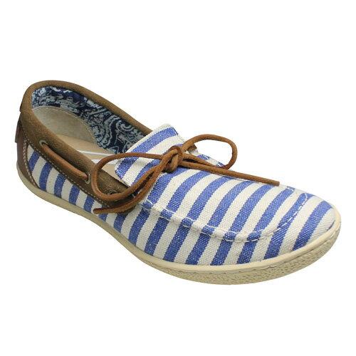 【Indian(インディアン)】ボーダー柄のデッキシューズ・ID990(ブルー)/メンズ 靴