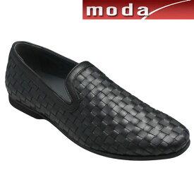 【TRUSSARDI(トラサルディ)】 ロングノーズのメッシュスリッポン・TR17007(ブラック)/メンズ 靴