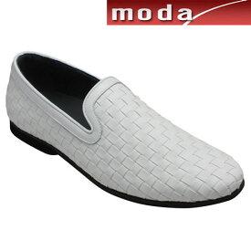 【TRUSSARDI(トラサルディ)】 ロングノーズのメッシュスリッポン・TR17007(ホワイト)/メンズ 靴