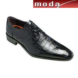 modaselectionクロコ型押しビジネスシューズプレーントゥGB403ブラックロングノーズメンズ靴