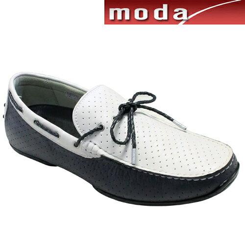 リーガル/タウンユースの牛革ドライビングシューズ(リボン)・954RAFH(ホワイトネイビー)/REGAL メンズ 靴