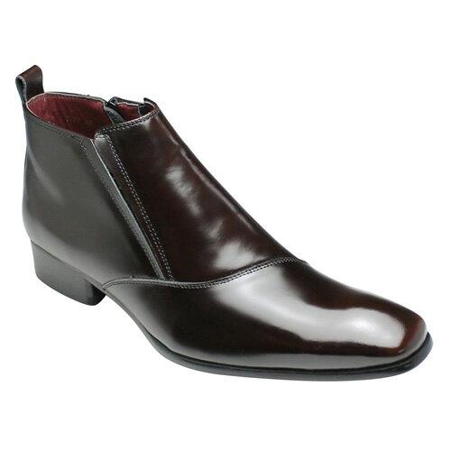 【SARABANDE(サラバンド)】有機的なラインが魅力の牛革ブーツ(片側流れ)・SB7777(ダークブラウン)/メンズ 靴