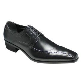 【TRUSSARDI(トラサルディ)】牛革ロングノーズの片流れビジネスシューズ(サイドスワール・レース)3E・TR10251(ブラック)/メンズ 靴
