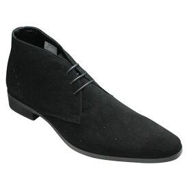 【TRUSSARDI(トラサルディ)】 ロングノーズの脚長ジョージブーツ・TR13079(ブラックスエード)・3E【送料無料】/メンズ 靴