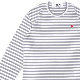 プレイ コムデギャルソン PLAY COMME des GARCONS MENS BORDER SMALL RED HEART LS TEE 長袖Tシャツ WHITExGRAY ホワイト メンズ 202001034050
