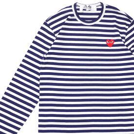 プレイ コムデギャルソン PLAY COMME des GARCONS MENS BORDER RED HEART LS TEE 長袖Tシャツ WHITExNAVY ホワイト メンズ 202000229049