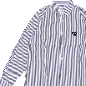 新品 プレイ コムデギャルソン PLAY COMME des GARCONS MENS BLACK HEART STRIPE L/S SHIRT 長袖シャツ BLUE ブルー 青 メンズ