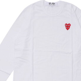 新品 プレイ コムデギャルソン PLAY COMME des GARCONS MENS Double Red Heart L/S T-Shirt 長袖Tシャツ WHITE ホワイト 白 メンズ 新作