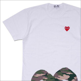 PLAY COMME des GARCONS (プレイコムデギャルソン) MEN'S CAMO HEM HEART TEE (T-shirt) WHITE 200-007707-050x
