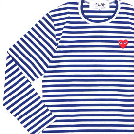 PLAY COMME des GARCONS プレイ コムデギャルソン MEN'S BORDER RED HEART L/S TEE 長袖Tシャツ BLUE 202000940044x【新品】