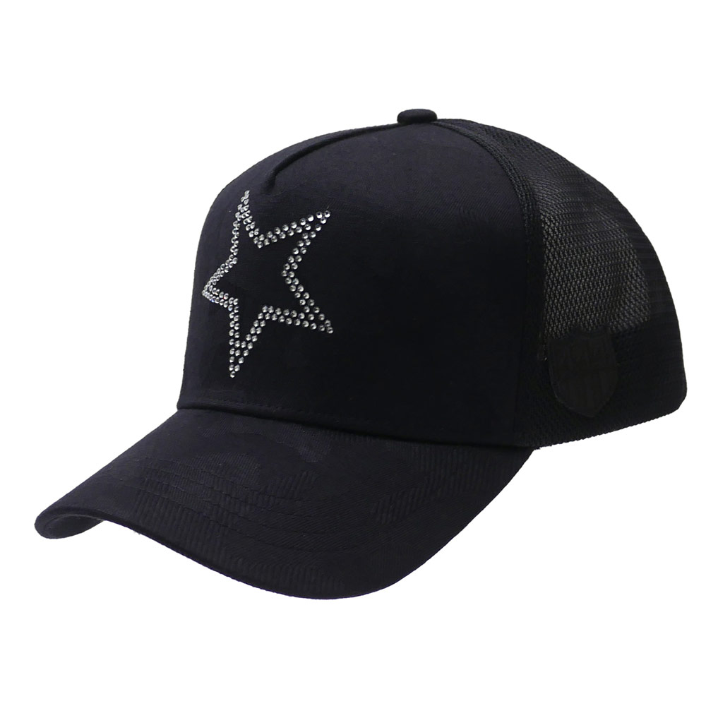 YOSHINORI KOTAKE(ヨシノリコタケ) x BARNEYS NEWYORK SWAROVSKI STAR CAMO MESH CAP (キャップ) BLACK 251-001182-011x【新品】