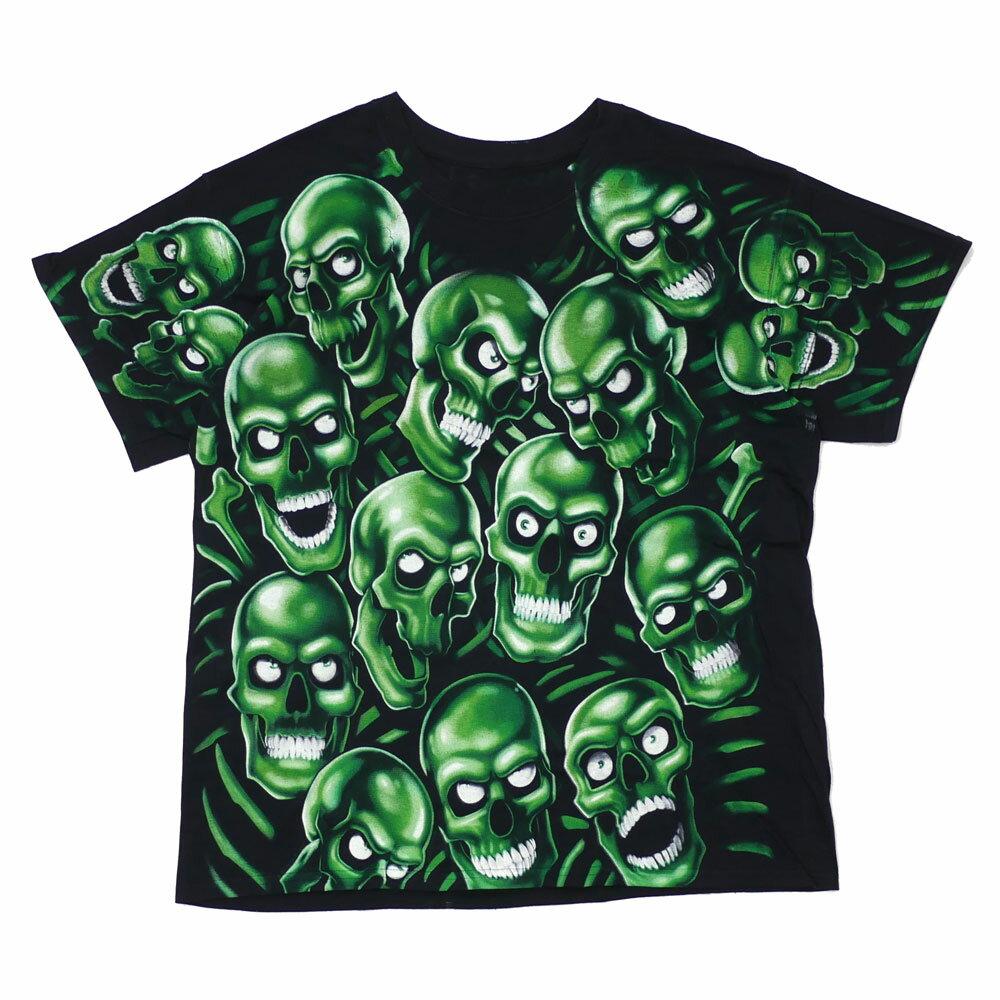 LIQUID BLUE (リキッドブルー) Skull Pile Green Black Tee (Tシャツ) GREENxBLACK 999-005488-031