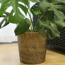 シンセティックラタン 鉢カバー Lサイズ ブラック 鉢カバー おしゃれ 北欧 観葉植物 かご バスケット 収納 ラタン 籐 …