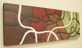 バリ絵画 ドットアート 100×35 Omix 絵画 インテリア おしゃれ 壁掛け 絵 モダンアート アートパネル 北欧 アジアン バリ ファブリックパネル