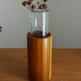 バリガラス&チークウッド 一輪挿し ラウンド【 花瓶 一輪挿し ガラス 木製 アジアン 雑貨 バリ 造花 】