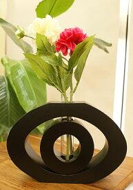 モダンフラワーベース Type A 花瓶 一輪挿し おしゃれ 木製 試験管 ガラス アジアン バリ 雑貨 アジアンインテリア リゾート