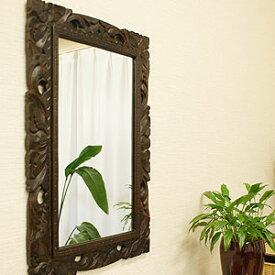 アジアンレリーフ ミラー 40×60 A 鏡 壁掛け ミラー おしゃれ アンティーク 木製 天然木 アジアン バリ レトロ 木彫り レリーフ