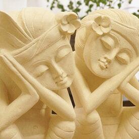 石彫り おやすみバリニーズ D バリ ストーンレリーフ 石像 アジアン雑貨 インテリア ガーデニング 天然石 ジャワパラス ライムストーン 置物 オブジェ リゾート