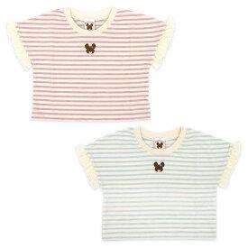 くまのがっこう ジャッキー Tシャツ 半袖 女の子 キッズ 子供 服 100 110 120 ショート丈 大きめ ビッグT キャラ プレゼント おしゃれ ネッククーラー付き //メール便発送可