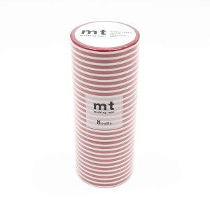 mt マスキングテープ 8P ボーダー・いちご MT08D382 【同梱・代引き不可】