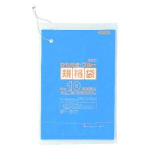 ジャパックス HD規格袋 厚み0.010〜0.012mm No.10 ひも付き 青 200枚×10冊×5箱 HKB10 【同梱・代引き不可】