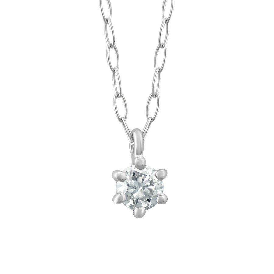 【WEB限定】K18 ホワイトゴールド ダイヤモンド 一粒 ネックレス【0.06ct】【4月 誕生石】【ESTELLE エステール】18金 18k ダイヤ シンプル ギフト プレゼント レディース