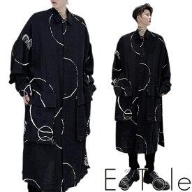 【送料無料】EsTole デザインロングシャツ シャツコート ロング丈 ダボシャツ カジュアルシャツ 柄シャツ ビッグポケット 羽織り オーバーサイズ ゆったり ビッグサイズ トップス メンズ ストリート モード系 個性的 原宿系 エストール