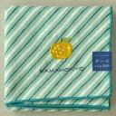 【マリンバイアスとゆず】はんかち リバーシブルガーゼハンカチ エメラルドブルー 柚子刺繍 濱文様