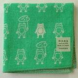 はんかち【雨の日カエル】エメグリーン和たおるセミウォッシュかえる蛙タオルハンカチ
