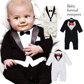 a10111e5a5ef1 4色 選べる ロンパース ベビー 男の子 赤ちゃん 子供服 フォーマル タキシード 結婚式 お誕生日