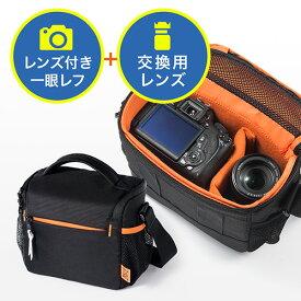 カメラバッグ(一眼レフカメラ・ショルダーベルト・ベルトループ内蔵・レンズ収納可能) 200-DGBG008BK
